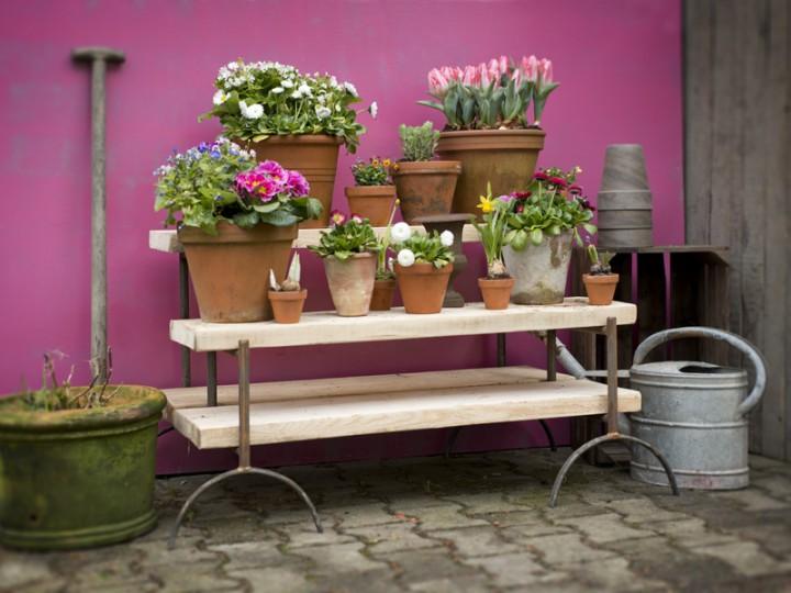 Blumentreppe gro und klein b cke und holz - Garten geratehaus holz klein ...