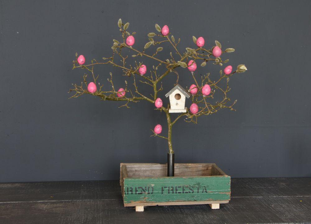 Holzkiste mit Baumständer / Vase  - EINZELSTÜCK-